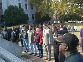 Hinds County employees and veterans gathered Friday morning outside the county courthouse for a wreath laying ceremony.