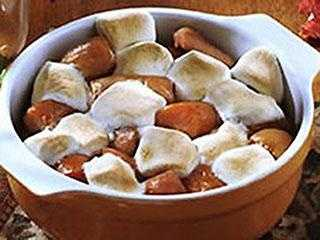 They're savory, sweet, and gooey -- sweet potatoes topped with marshmallows.