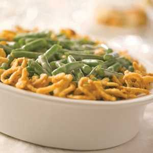 The souped-up vegetable dish was first created in 1955 by the Campbell Soup Company. It consists of green beans, cream of mushroom soup and French fried onions.
