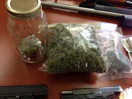 The drugs seized included 10 lbs. of marijuana and about 3 1/2 ounces of cocaine.