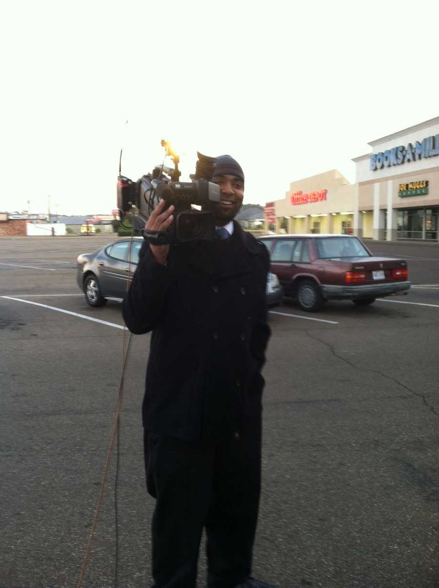16 WAPT News Director Ben Hart pitches in by picking up a camera during Turkey Drive 16.
