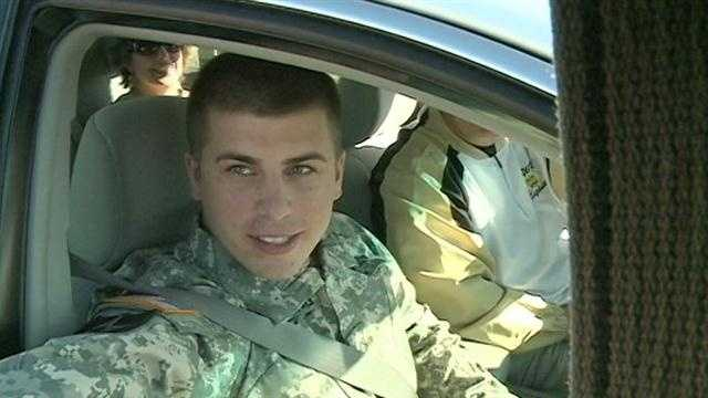 Pfc. Cody Armstrong, a 2010 graduate of Northwest Rankin High School, was shuttled from the airport in Jackson in a motorcade to the high school.