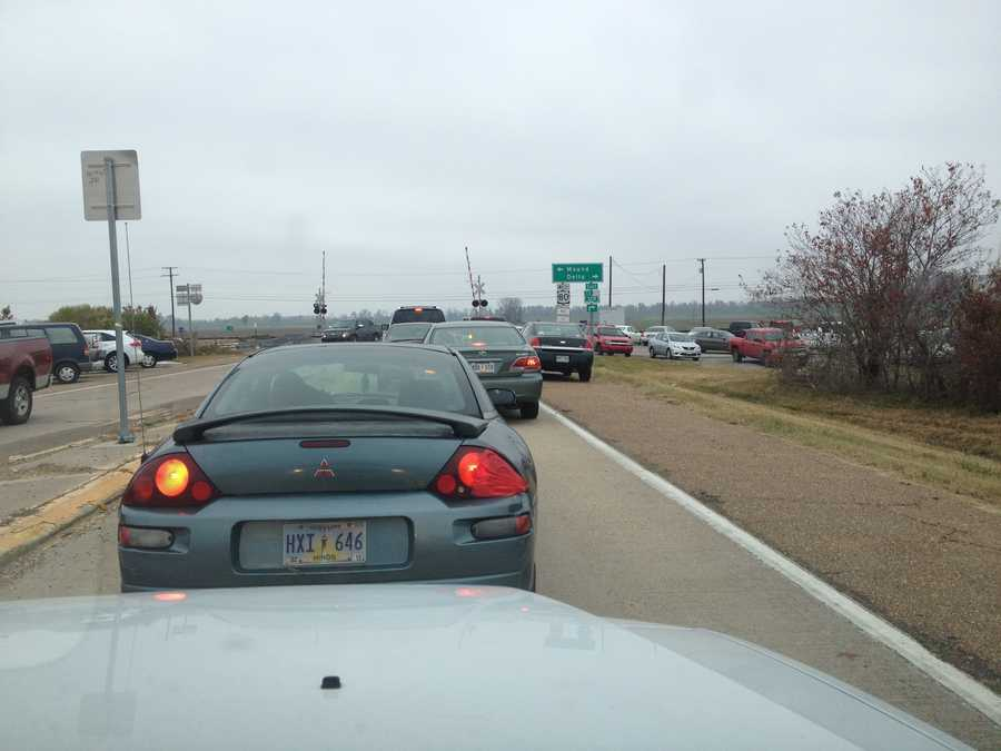 Cars were lined up from I-20 to the Delta exit on Tuesday.