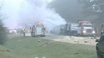One person is dead after an early-morning crash involving two 18-wheelers.