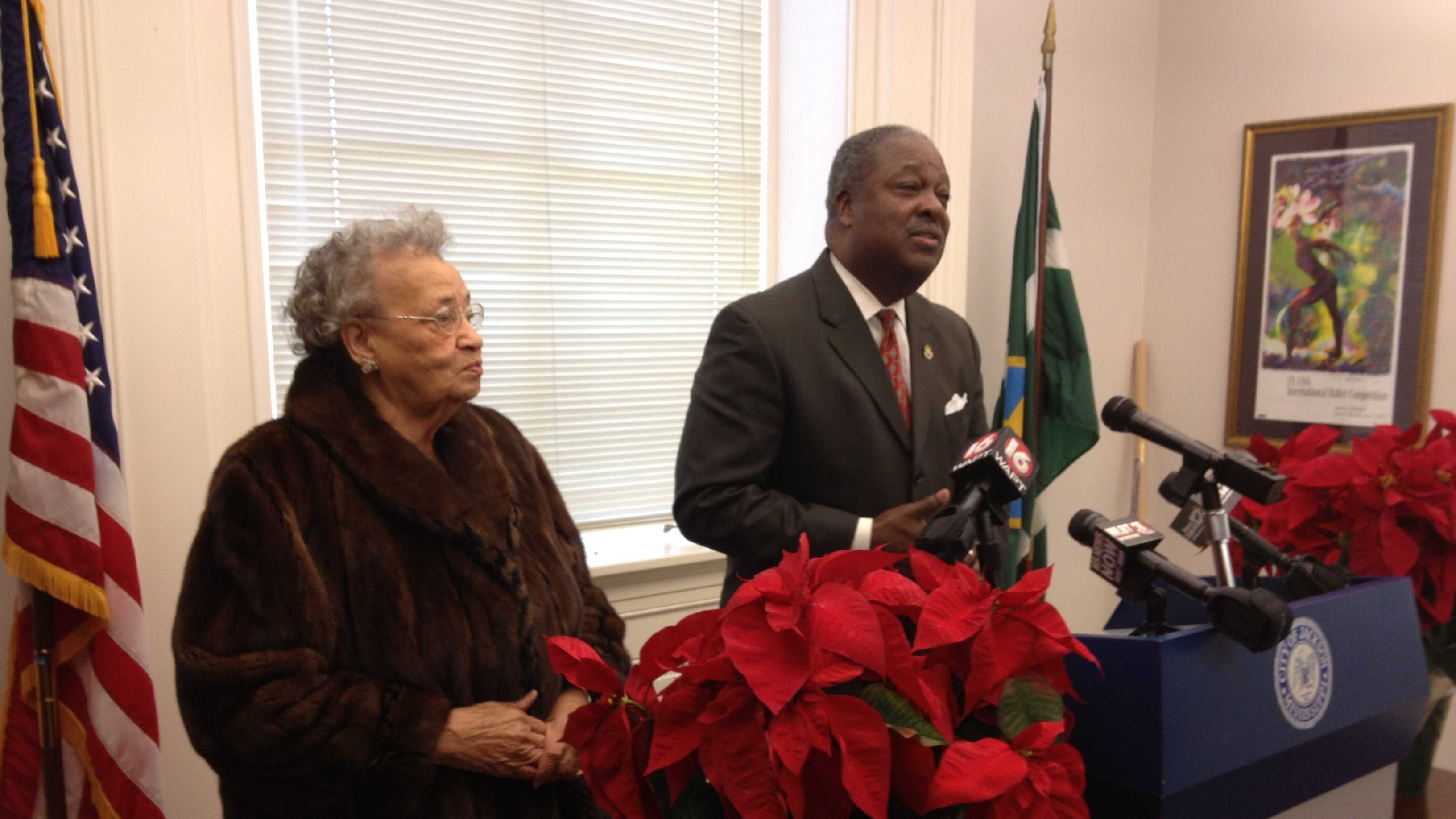 Juadine Cleveland and Mayor Harvey Johnson