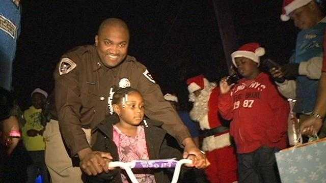 A Christmas wish came true for the 4-year-old who was hit by a school bus.