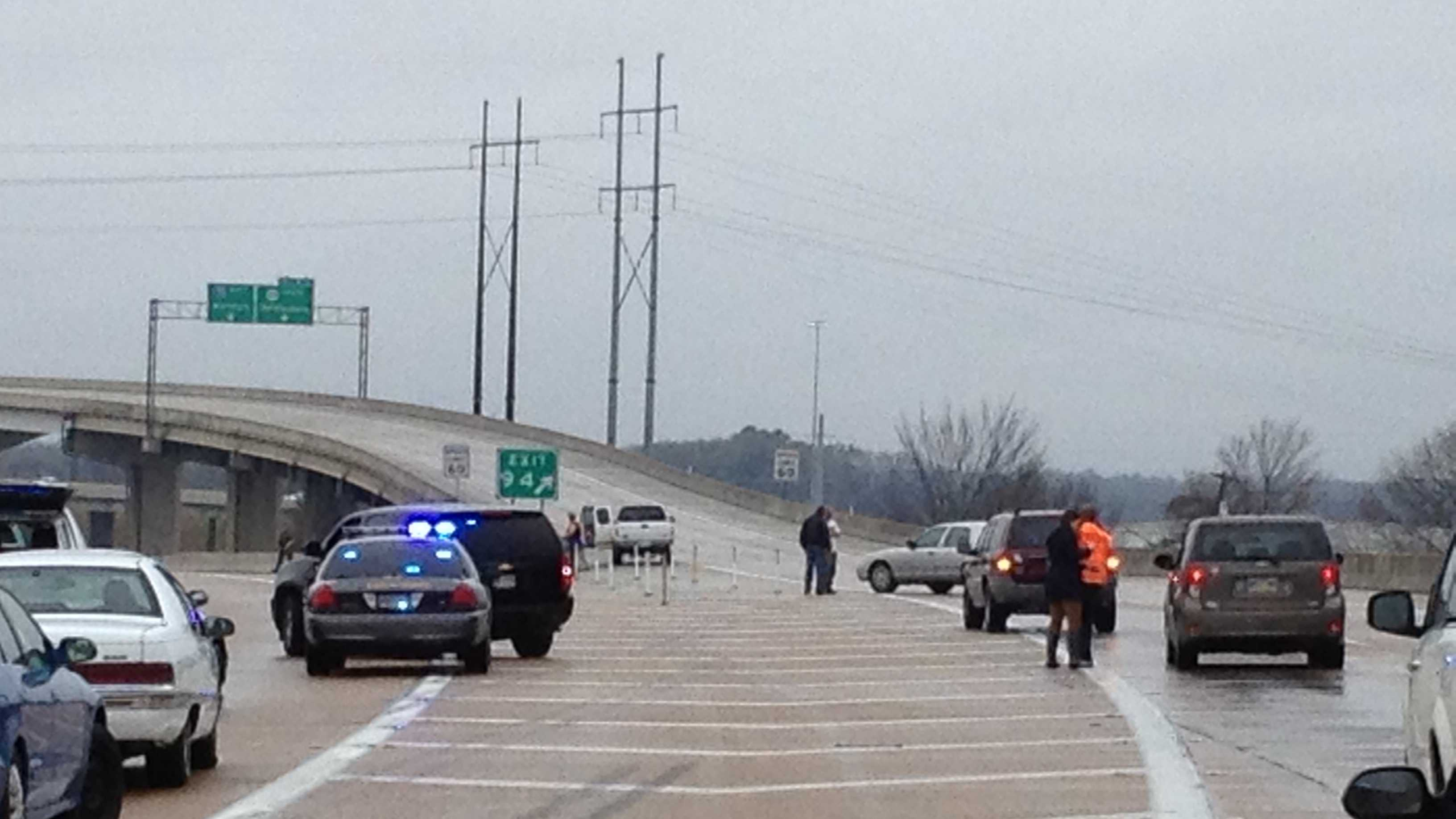 16 WAPT viewer Gabe Shows took this photo of the scene on Interstate 55 at The Stack.