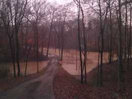 The heavy rain produced flooding in Vicksburg.