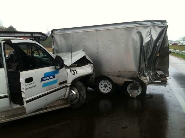 A wreck on I-55 North at the Elton Road exit blocked both lanes of the interstate Thursday.