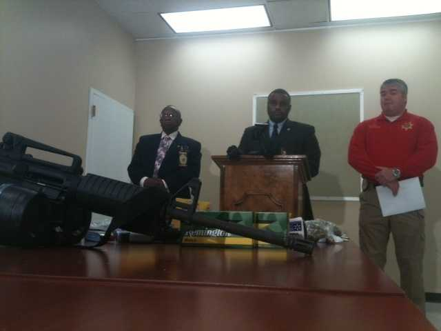 Sheriff Tyrone Lewis says he's in the process of tracing the assault rifle.
