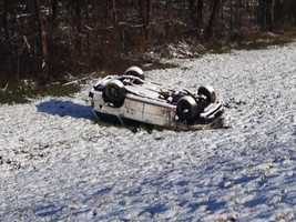 A wreck on the interstate happened around midnight. Witnesses say the vehicle hit ice on an overpass and went airborne.