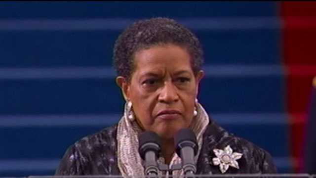 Myrlie Evers-Williams gives the Invocation at President Barack Obama's inauguration.