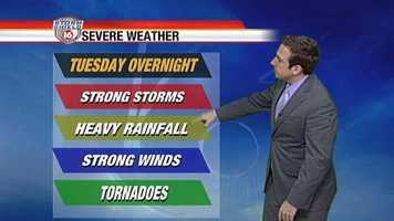 Severe weather, including strong storms, heavy rainfall, strong wind and even tornadoes are possible.