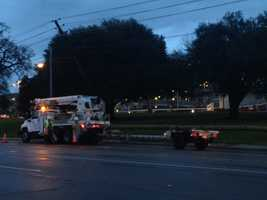 Crews were working to replace the pole.