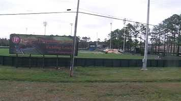 The wind damaged several athletic fields at Jackson Prep.