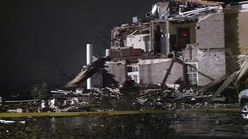 The Alumni Center on U.S. 49 was damaged by the tornado.