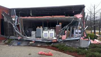 Damage at the Hattiesburg Technology Center.