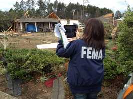 A FEMA representative surveys tornado damage in Lamar County.