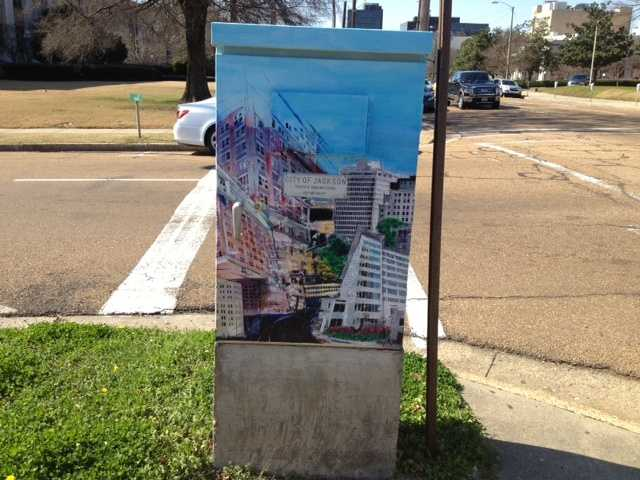 Eleven traffic boxes on Highway 80 will be painted. About two dozen are already painted around the city. This one is on the corner of President and Pascagoula streets.