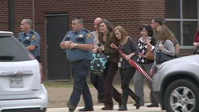 Emergency responders and law enforcement surrounded Germantown High School for a school shooting drill.