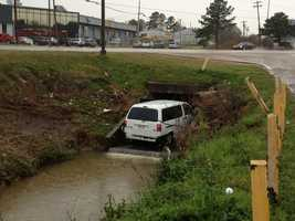 A van ran off Highway 80 into a ditch near Lynch Street and got stuck Friday in the opening of a culvert.