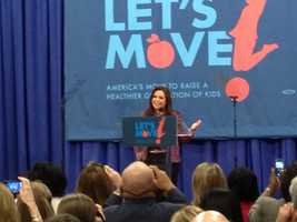 Rachael Ray speaks to a crowd in Clinton about healthy school lunches.