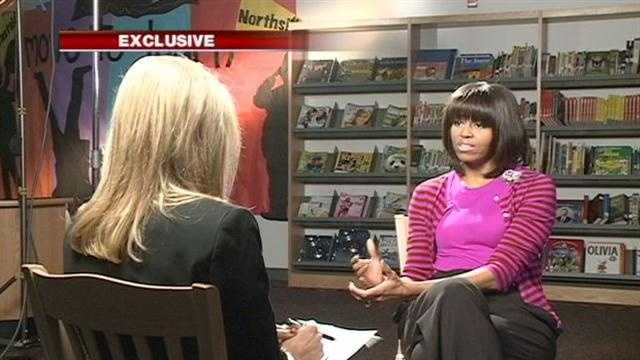 First lady Michelle Obama sat down with 16 WAPT's Megan West for a one-on-one interview during her visit to Clinton in 2013.