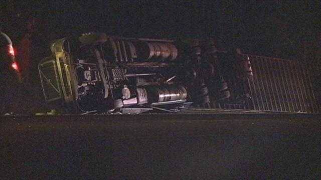 18-wheeler overturns off of I-20