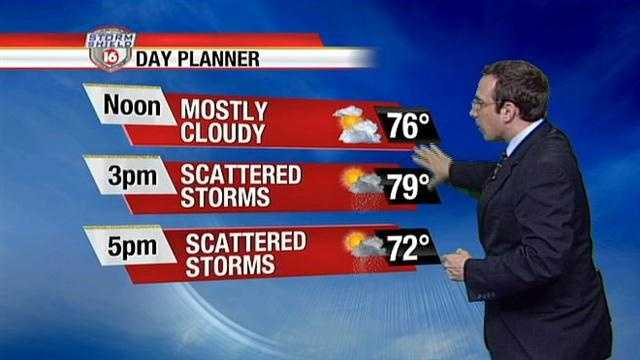Rounds of scattered showers & storms are likely Monday. Showers and storms are likely between 11 a.m. to 8 p.m. , says 16 WAPT meteorologist Ethan Huston.