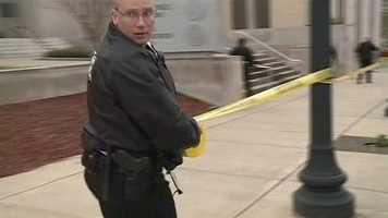 Police headquarters became a crime scene Thursday evening.