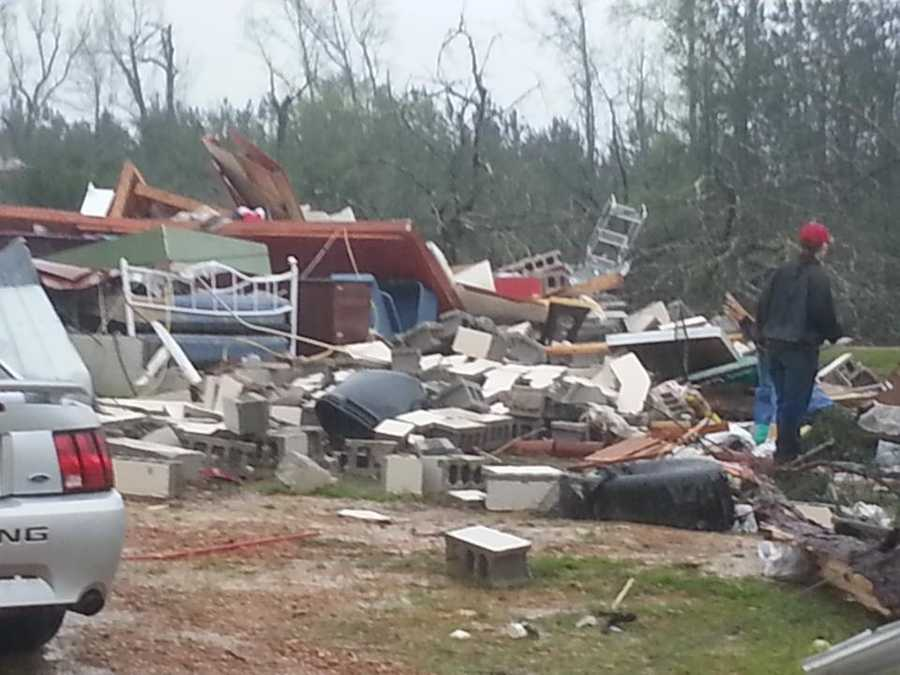 A house on Highway 21 in Shuqualak was destroyed by the tornado.
