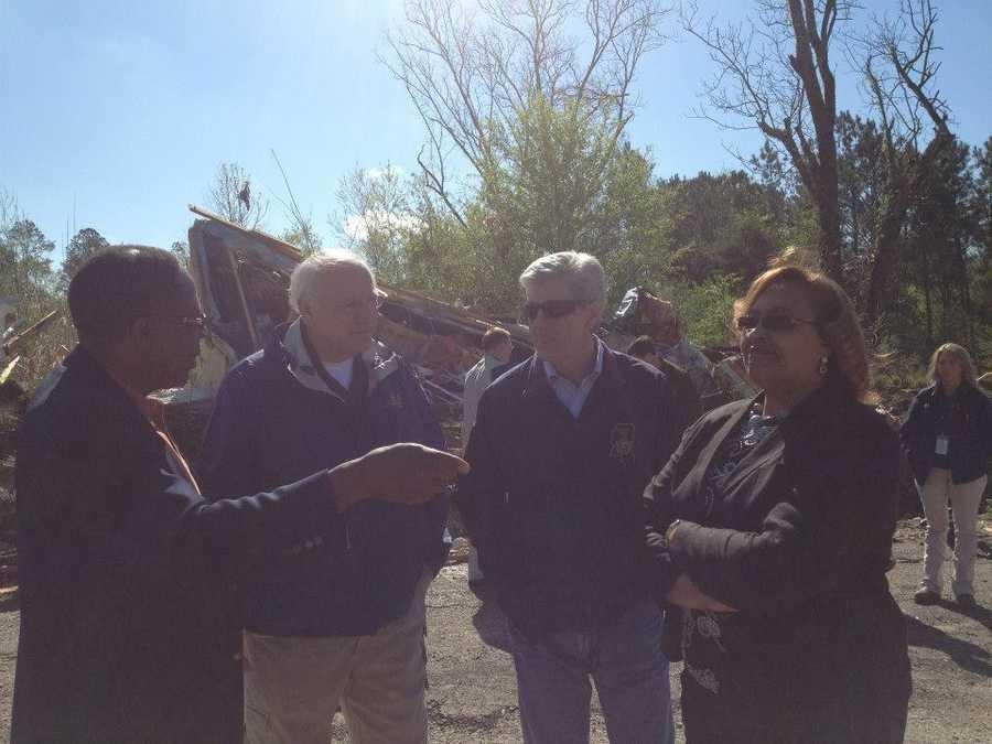 Representative Tyrone Ellis, MEMA Executive Director Robert Latham, Gov. Bryant and Shuqualak Mayor Velma Jenkins discussing tornado damage and recovery.