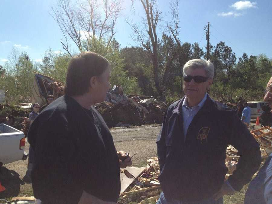 Gov. Bryant discussing tornado response and recovery with Noxubee County EMA Director Bobby Mann.