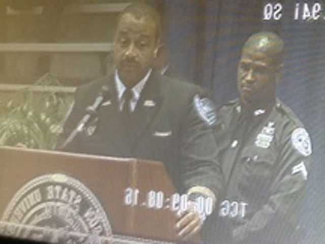 JPD Assistant Chief Lee Vance speaks at slain Detective Eric Smith's funeral, which was held at JSU's basketball arena.