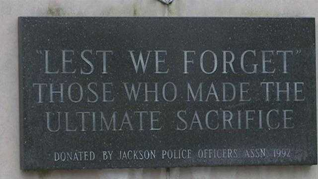 JPD Memorial in front of Jackson Police Department headquarters