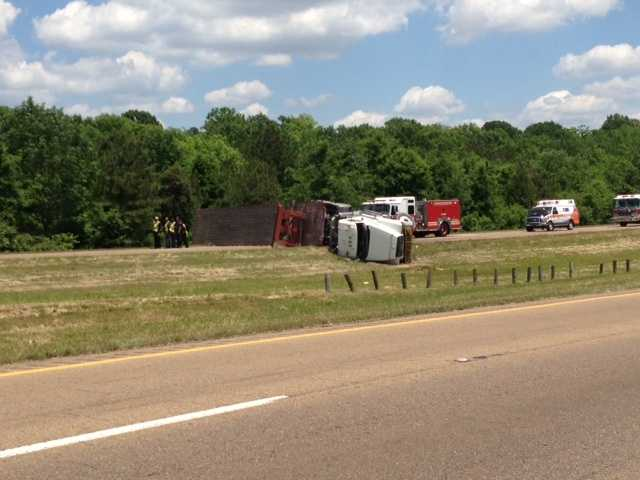 An 18-wheeler overturned on Interstate 20 westbound just past the Highway 18 exit.