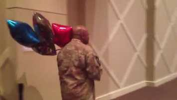 Maj. Conley's flight arrived in Jackson Thursday night. He surprised Kendra with balloons...