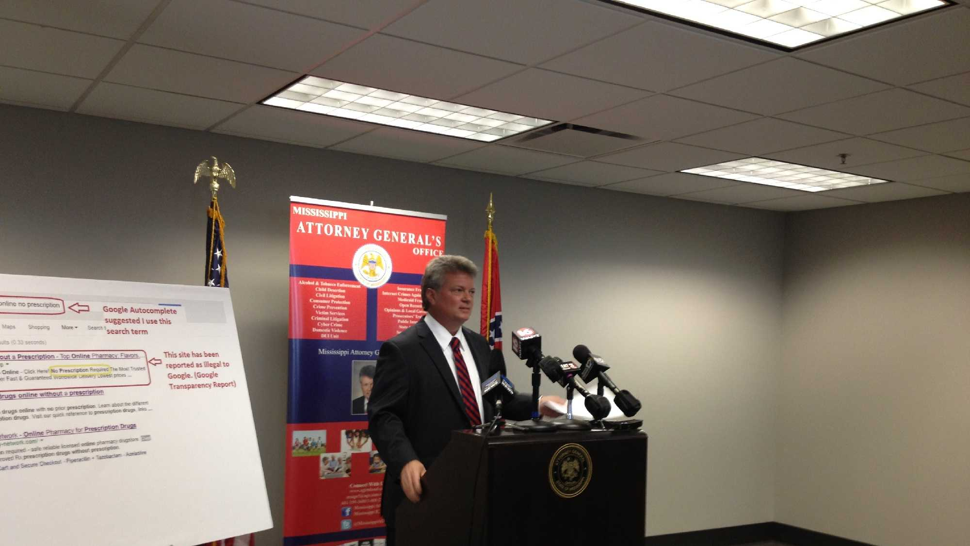 Mississippi Attorney General Jim Hood voiced his concerns about Google during a news conference on June 6.