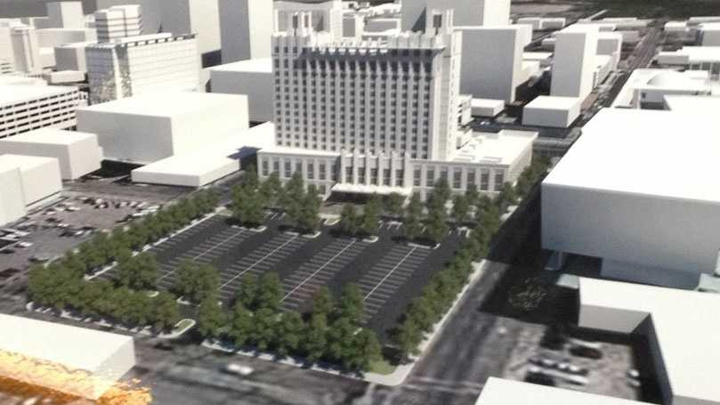 The hotel will go up across the street from the convention center.