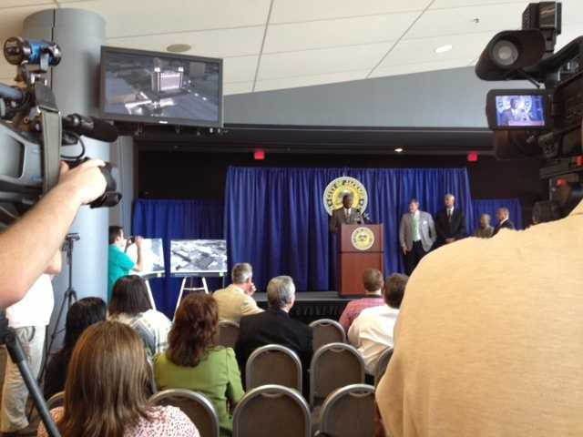 """""""You would think this is a groundbreaking,"""" Mayor Harvey Johnson said about the turnout for the news conference."""