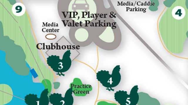 1. The Chicken Coop. 2. Georgia Blue. 3. Clubhouse 4. Putting Green 5. Concessions