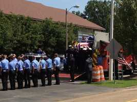 Pearl Fire Department Battalion Chief Dwayne Harris is remembered by fellow firefighters, police officers, family and friends.