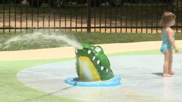 Kids stay cool at the zoo's Splash Pad.