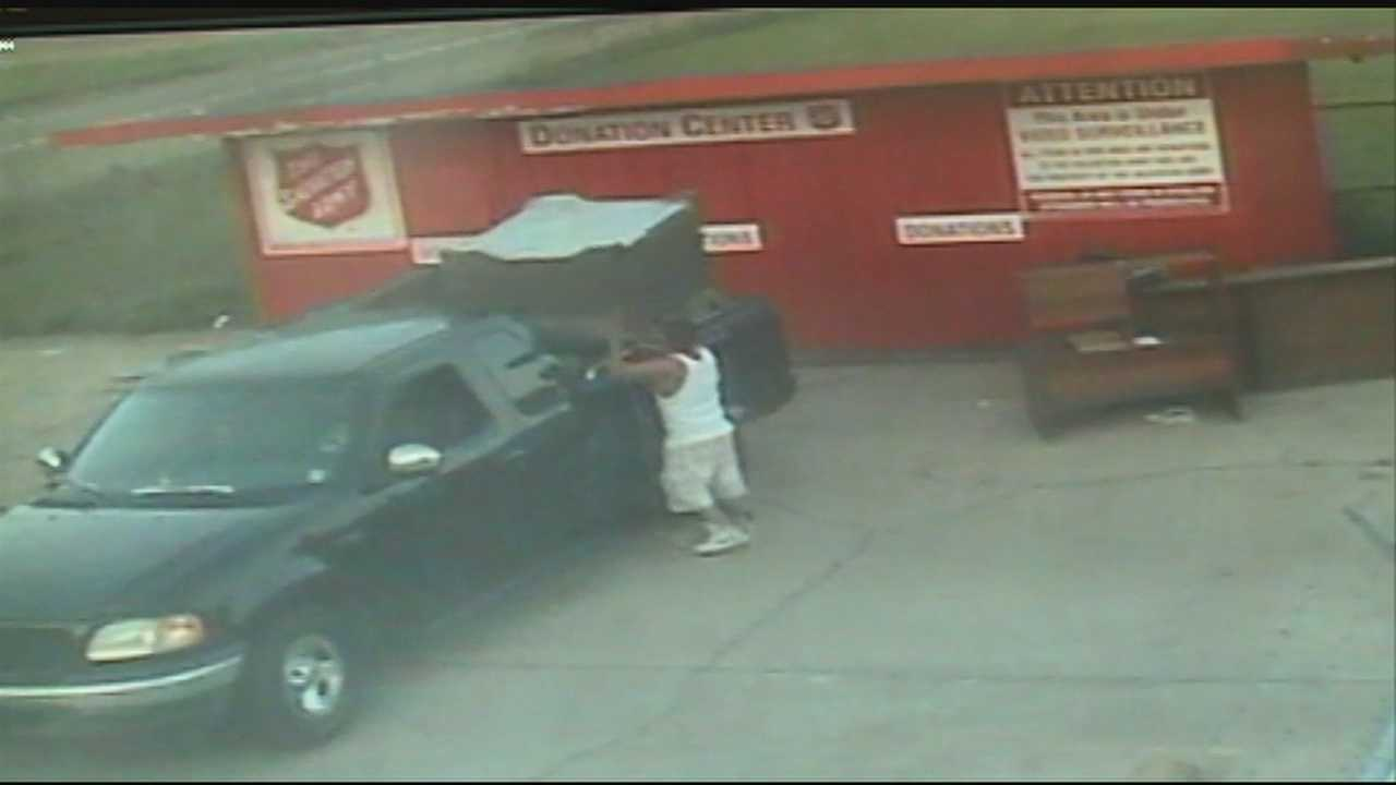 Jackson police say a man caught on surveillance video taking items from a Salvation Army drop box can't be charged with a felony.