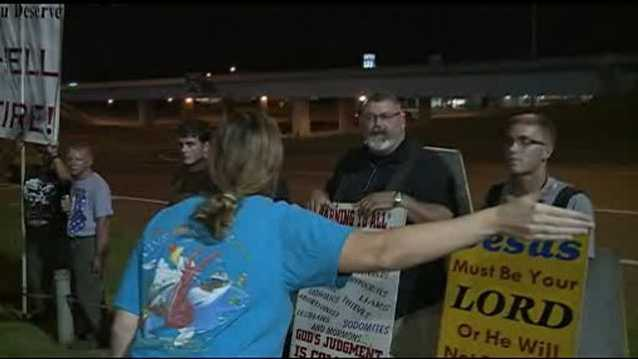 Hooters customers clash with protesters. Click here to read the story and watch video.
