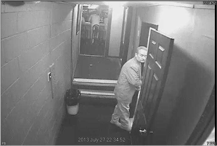 Police say the photos show an older white man wearing a blazer and carrying a tip jar he is accused of stealing. The tip jar is allegedly under his jacket, police say.