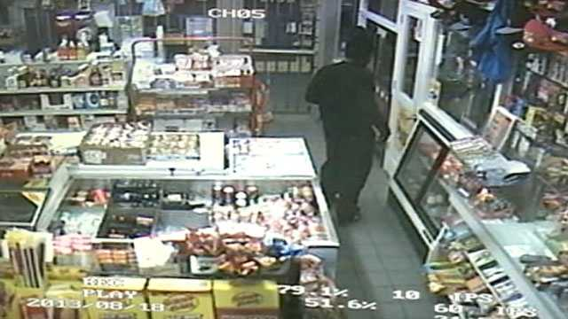 Surveillance cameras capture a robbery and shooting at a Jackson gas station from beginning to end.