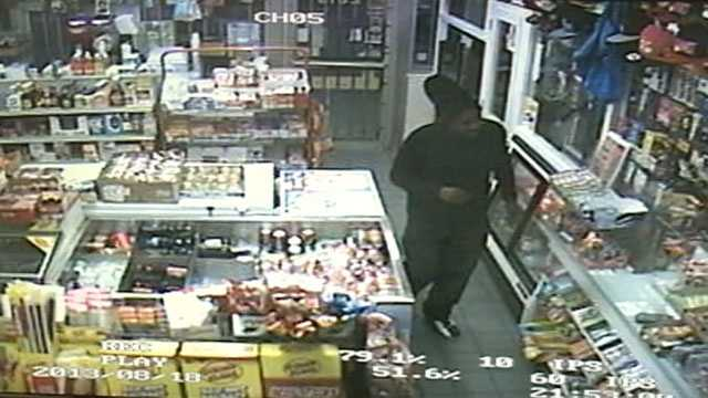 The cameras show a man walking into the Food Mart at McDowell and Raymond roads in Jackson.