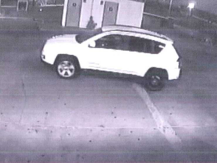 The men were driving two vehicles which were also caught on camera. The first is a small white SUV with a small spare tire on the left rear side of the vehicle, police said.