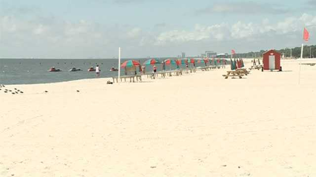 The red warning flag was up on the beach in Biloxi on Friday.
